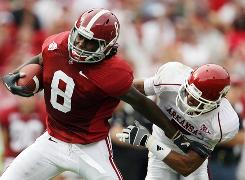 Alabama and wide receiver Julio Jones, left, will try to shake off the upset bid of Arkansas in Fayetteville.