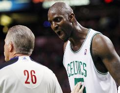 Boston Celtics forward Kevin Garnett argues with a referee during Game 4 of last season's Eastern Conference finals against the Orlando Magic. Garnett and other NBA players will be on a shorter leash in the 2010-11 season.