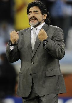 Diego Maradona, watching Argentina take on Germany during a quarterfinal match at the 2010 World Cup in Cape Town, South Africa, was not retained by the AFA as the Argentina's coach.