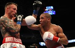 Andre Ward, landing a right on Mikkel Kessler during their WBA super middleweight championship bout last November, will put his WBA title on the line against Andre Dirrell on Nov. 27 in the Super Six World Boxing Classic.