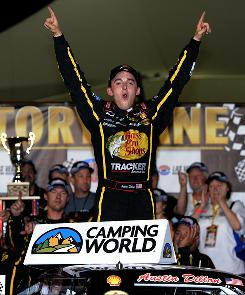 Austin Dillon celebrates his victory in the NASCAR Camping World Truck Series race at Las Vegas.