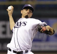 Rays starter Matt Garza allowed one run on eight hits in seven strong innings as Tampa Bay opened up a 1.5-game lead over the Yankees in the AL East.