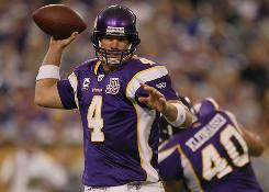Brett Favre and the Vikings picked up their first win on Sunday.