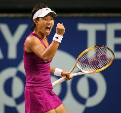 Kimiko Date Krumm of Japan celebrates after defeating defending champion Maria Sharapova of Russia at the Toray Pan Pacific Open on Monday in Tokyo.