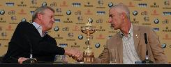 European captain Colin Montgomerie, left, and U.S. counterpart Corey Pavin shake during a Ryder Cup press conference in Newport, Wales, on Monday.