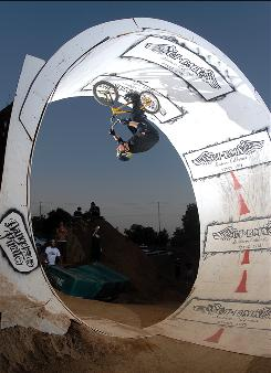 Stephen Murray, here riding on an inverted loop in 2006, suffered a spinal injury in June 2007.