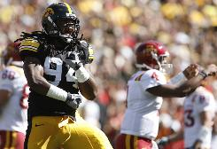 Iowa defensive end Adrian Clayborn, reacting in a win vs. Iowa State on Sept. 5, made a key blocked punt that he returned for a touchdown in last season's comeback victory at Penn State. Two years ago, Iowa won on a last-second field goal.