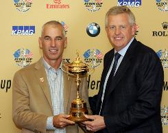 Either U.S. captain Corey Pavin, left, or European captain Colin Montgomerie will be holding the Ryder Cup on Sunday following the competition. The other might be holding a stiff drink.