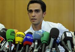 Three-time Tour de France champion Alberto Contador gives a press conference on Thursday in Pinto regarding his suspension today after testing positive for clenbuterol. Contador was notified about the positive test on August 24.