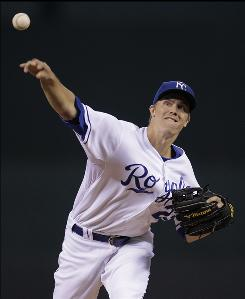 Royals starter Zack Greinke gave up two runs and four hits and struck out nine in seven innings in the 3-2 win over the Rays.