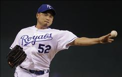 Royals starter Bruce Chen struck out a season-high seven and allowed two hits while tossing his first complete game since 2005 while with the Baltimore Orioles.