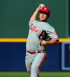 In his second major league start, Phillies starter Vance Worley threw five innings of one-hit ball and combined with four relievers to shut out the Braves.