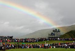 A rainbow appears over Celtic Manor Resort in Newport, Wales, on Sunday as the rainy Ryder Cup wound down. The event needs a Monday finish for the first time, a fitting conclusion to a strange Ryder Cup in a strange golf year.