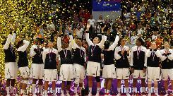 U.S. women celebrate after winning the World Basketball Championship in Karlovy Vary, Czech Republic.