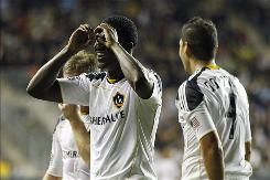 The goal Edson Buddle, center, scored was his MLS-leading 16th and provided the winning marging for the Galaxy.