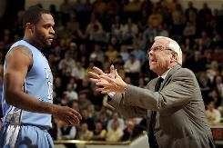 North Carolina Tar Heels head coach Roy Williams yells at Will Graves during the second half of this game against the Georgia Tech Yellow Jackets in February. Graves was recently dismissed from the UNC men's basketball team for unspecified reasons.