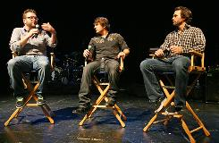 "Jimmie Johnson, right, talks with Jimmy Wayne, center, and Rutledge Wood during the latest edition of the ""Jimmie Jam"" concert series."