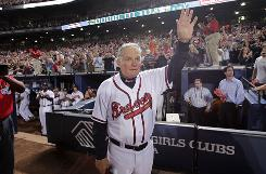 Braves manager Bobby Cox acknowledges the Turner Field crowd moments after Atlanta was eliminated from the playoffs.