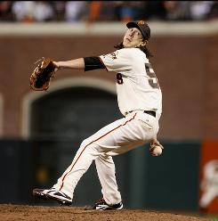 Roy Halladay and the Phillies are getting the press, but Tim Lincecum (above) and the Giants boasted the NL's best ERA for the season and feel that they can go toe-to-toe with anyone.