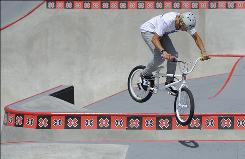Brett Banasiewicz jumps a gap during the BMX Park Freestyle final in July at X Games 16 in Los Angeles.