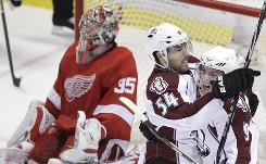 Colorado Avalanche winger David Jones (54) celebrates one of his two goals Tuesday night against the Detroit Red Wings.