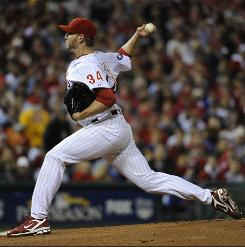 Nine days after throwing the second no-hitter in postseason history, Phillies ace Roy Halladay gave up four runs on eight hits in Game 1 of the NLCS. The Giants won 4-3.