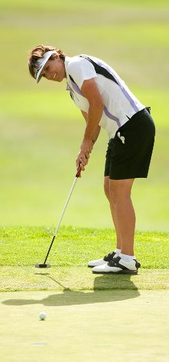Michele Redman putts during the third round of the CVS/Pharmacy LPGA Challenge at Blackhawk Country Club on Saturday in Danville, Calif. Redman shot a 4-under 68 to grab a share of the lead with Beatriz Recari and Ilhee Lee.