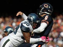 The Seahawks sacked Bears QB Jay Cutler six times on Sunday.