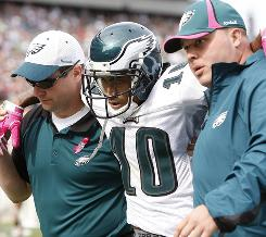 Eagles WR DeSean Jackson was knocked out of Sunday's game after suffering a concussion following a hit from Atlanta's Dunta Robinson.