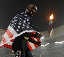 LaShawn Merritt wrapped himself in the Stars and Stripes after winning the Olympic gold medal as part of the 400-meter relay at the 2008 Beijing Games.