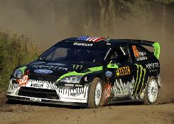 "American Ken Block, with co-driver Alex Gelsomino during the Rally of Germany on Aug. 21, says, ""I never thought six years ago when I started rallying that I'd be able to drive on this level."""