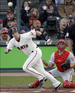 Buster Posey, watching his RBI single with Phillies catcher Carlos Ruiz in the first inning, went 4-for-5 with two RBI to propel the Giants to a 6-5 win in Game 4.