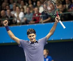 Roger Federer of Switzerland celebrates after defeating Florian Mayer of Germany in the final of the Stockholm Open on Sunday in Sweden.