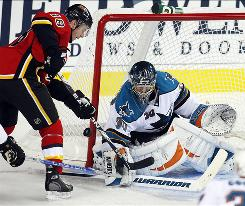 San Jose Sharks goalie Antero Niittymaki blocks the net as the Calgary Flames' Rene Bourque reaches for the rebound during the second period.