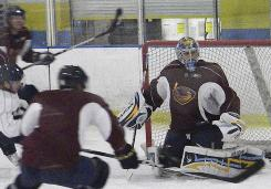 Ondrej Pavelec, practicing here with his Atlanta Thrashers teammates, played in the AHL Wednesday night and hopes to see NHL action Saturday.