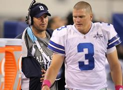 The Cowboys will turn to Jon Kitna, right, as starter after Tony Romo broke his left clavicle on Monday.