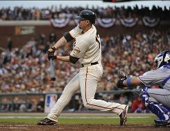 Giants first baseman Aubrey Huff went 3-for-4 with a double, an RBI and a run scored.