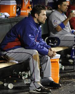 Rangers pitcher Cliff Lee, 7-0 in the postseason entering Game 1, was gone by the fifth inning Wednesday night.