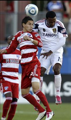 Eric Avila, left, challenging Real Salt Lake's Robbie Findley for the ball during the second half, scored in the 88th minute for FC Dallas.
