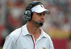 Lane Kiffin left Tennessee after only one season to coach the USC Trojans, who have enjoyed a 5-2 record during his first season.