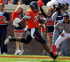 Virginia running back Keith Payne cruises into the end zone for a touchdown during the second quarter against Miami (Fla.).