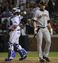 Giants' Pat Burrell struck out all four times in Game 3 and in eight of his nine at-bats.