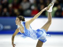 Alissa Czisny performs her free skate program at the Skate Canada.  The program was the one that vaulted her into first place at the competition.