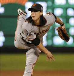 Giants starter Tim Lincecum, pitching in the third inning Monday night, won Games 1 and 5 against the Rangers.
