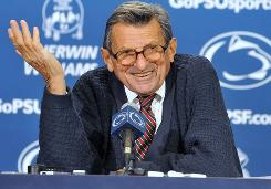 Penn State coach Joe Paterno speaks at his weekly press conference prior to his team's game against Northwestern.