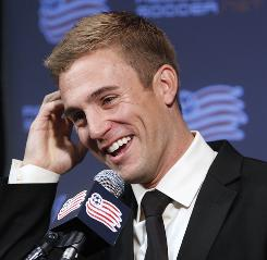 New England Revolution striker Taylor Twellman faces reporters during a news conference announcing his retirement from professional soccer on Nov. 3 in Foxborough, Mass.