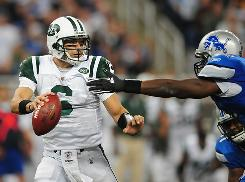 Jets QB Mark Sanchez led a comeback win against the Lions on Sunday.