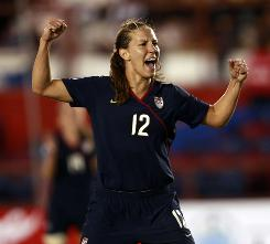 The United States' Lauren Cheney celebrates after scoring the first goal for the Americans against Costa Rica. Cheney's strike in the 17th minute set the tone for the U.S. women.