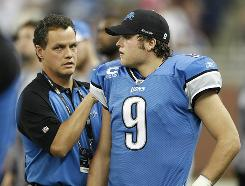 Lions QB Matthew Stafford was driven from Sunday's loss with an injured shoulder.