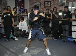 Antonio Margarito shadow-boxes Oct. 28 during a workout to prepare for Saturday night's fight against Manny Pacquiao.